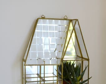 small shelf, window, House, glass and brass, for miniatures, collection, little house