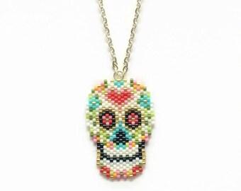 Sugar Skull Necklace - Skull Necklace - Mexican Sugar Skull - All Souls Day Jewelry - Colorful Skull Necklace - Dia de los Muertos Necklace