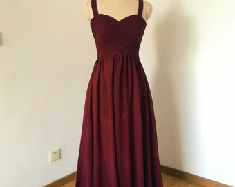 Straps Sweetheart Burgundy Chiffon Long Bridesmaid Dress