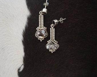 Sterling Silver 925 Post Back Drop Druzy Gemstone Earrings