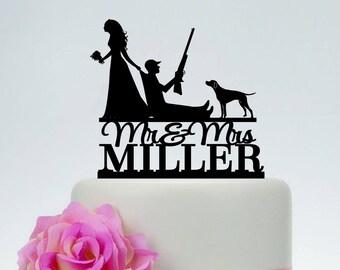 Hunting cake topper, Bride Pulling Groom Cake Topper, Bride Dragging Groom, Funny Cake Topper,Mr and Mrs Cake Topper, Gun Wedding C193