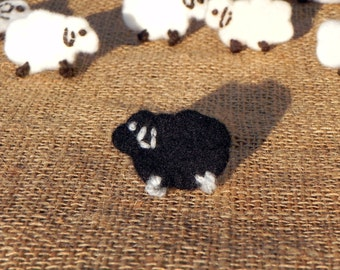 Felt black sheep pin, felt brooch, felted black sheep brooch, felt animal brooch