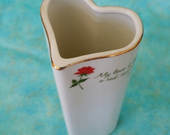 Heart Shaped Vase Vintage 1979 Rose Bud Vase My Love is Like A Red, Red Rose Love Talk Collectible Porcelain Designers Collection Valentine