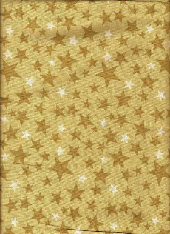 Rare quilt fabric by the yard gold star gold glitter for Celestial fabric by the yard