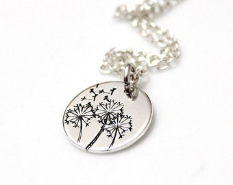 Dandelion Necklace, Hand Stamped Dandelion Necklace, Wish Necklace, Graduation Gifts, Dandelion Charm Pendant, Gifts for Grads