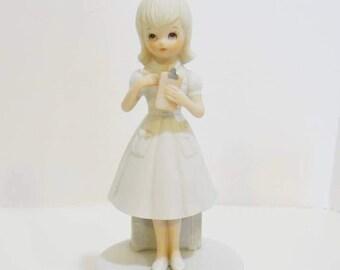 Vintage Lefton Nurse Music Box Christopher Collection 1983 A Spoon Full of Sugar Bisque Porcelain No 03550