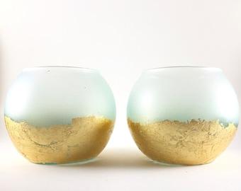 Sea Foam Candleholder with Gold Leaf / Wedding Centerpiece, Home Decor, Tea Candle Holder, Tealight Holder, Beach House Decor, Seaglass