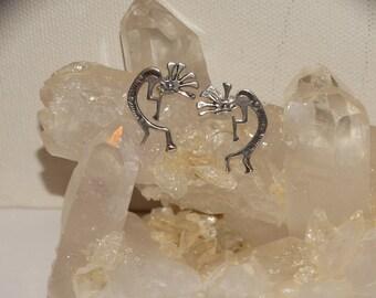 Navajo 925 Sterling Silver Kokopelli Earrings.