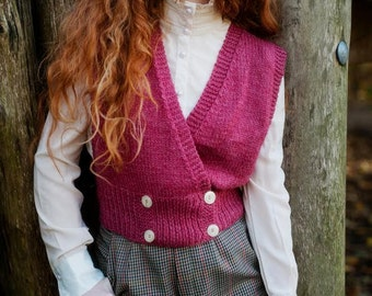 Vintage Pink Handmade Knitted Vest / Top / Size S