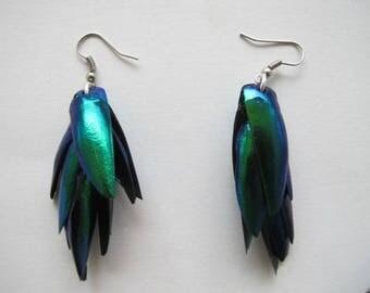 Green Beetle Wings Earrings