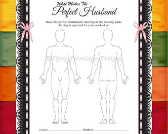 Bachelorette Party Game, Wedding Shower, What Makes The Perfect Husband, Naughty, Lace, Pink, Printable, Instant Download - T60A