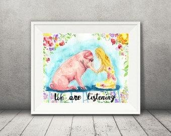 Pig Art - Watercolor Pig - Vegan Home Decor - Farm Animal Art - Vegan Print - Animal Rights - Animal Lover Gift - Pig Wall Art - Bright Art