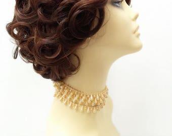 Lace Front Dark & Light Auburn with Dark Brown Retro Curly Wig. Doris Day Style Wig. Vintage Style Heat Safe Wig. [72-374-LFDoris-33-4/30]