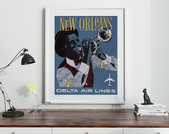 New Orleans Poster New Orleans Art Print New Orleans Vintage Travel Poster