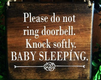 Baby Sleeping Sign | 7x8 | Door Signs | Do Not Disturb Signs | Baby Shower Gifts | Doorbell Signs | Do Not Ring Doorbell Signs | Wood Signs