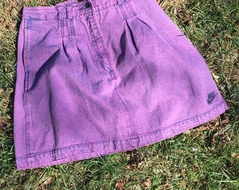 1990s purple denim vintage nike skirt