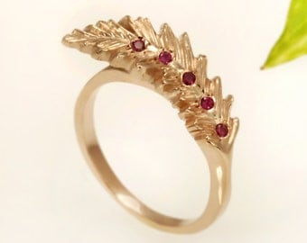 Gold Feather Ring, Ruby Engagement ring, Boho Women's Ring, 14K Gold Feather Ring, Delicate Ruby Ring, Gemstone Ring, Gift for her, RG-1115