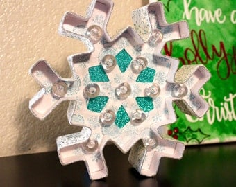 8in Snowflake Holiday Marquee | Snowflake Marquee | Snowflake Decor | Pre-lit Snowflake Marquee | Home Decor | Christmas Decor | Winter |