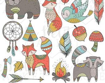 Tribal Woodland Clip Art, Tribal Animals, Woodland Clipart, Tribal Forest Animals Fox Owl Bear Teepee Feather Arrow