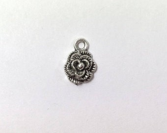 10 Silver Rose Charms 1-Sided Small Flower Charm Roses 0114M