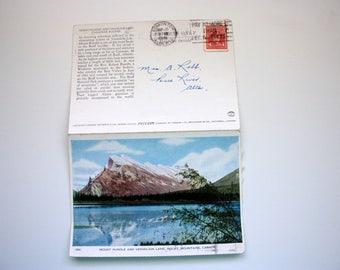 Mount Rundle Vermilion Lake Alberta Postcard 1948  / Banff Folkard Postcard  / with stamp / mountains postcard