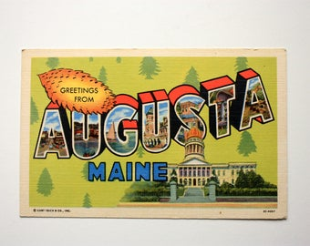 Greetings from Augusta Maine Postcard, Linen Postcard,  Augusta souvenir, Greetings Postcard, Curteich
