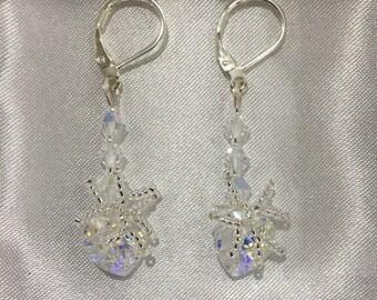 Swarovski Crystal AB Heart Earrings