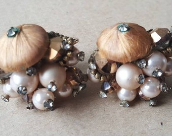 Vintage Vendome Coro Couture Pearl Diamante Cluster Clip On Earrings 1960s