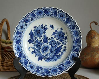 Genuine DELFT BLUE Vintage Plate by ZENITH Gouda in Holland, Hand Painted Blue and White Floral Decoration, Vintage Dutch Delft Art Pottery