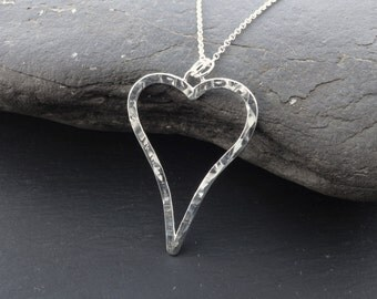 Handmade Sterling Silver heart necklace pendant, heart necklace, wife, girlfriend, gift, silver necklace, valentines gift idea