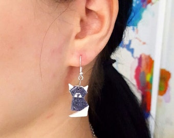 origami earrings, polymer clay cat, origami gift, cat jewelry, Origami
