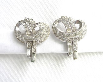 Art Deco Baguette and Round Rhinestone 1940 Vintage Clip Back Earrings - Pat 1967965 - Estate Jewelry