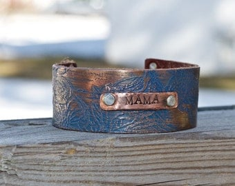Best Birthday Gift for Mom - Personalized Bracelet for Mom - Copper and Leather Bracelet Cuff - Mama Gift - Unique Birthday Day Gift for Mom