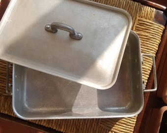Old aluminum pan with  cover - vintage - Italian