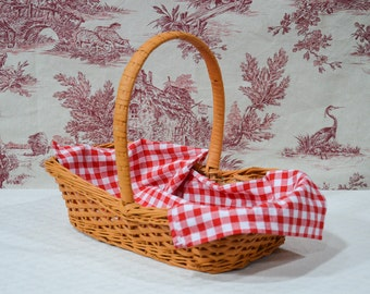 Rustic French Wicker Storage Basket. Vintage Wicker Gathering Basket with Large Curved Handle