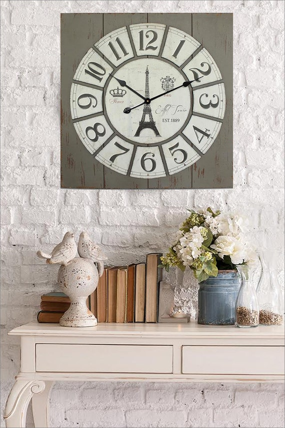 Large Wall Decor Rustic : Rustic wall clock eiffel tower home decor large
