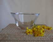 Mid Century Leaded Crystal Bowl, V Shaped Candy Dish, Elegant Design, Clean Lines, Candy Table Bowl, Wedding Gift