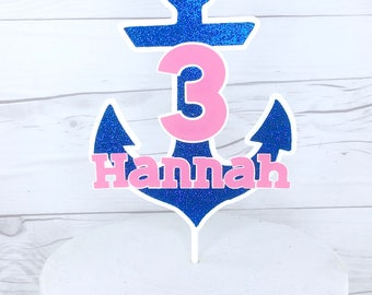Anchor Cake Topper, Nautical Cake Topper, Anchor Name Cake Topper, Blue Glitter And Pink Anchor Cake Topper,  Nautical Party Decor