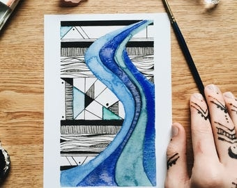 Flow - Geo Collection - Original Watercolor Painting - PRINT - 5x7