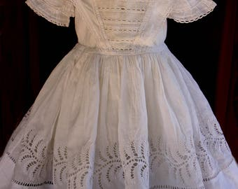 Early Antique doll dress or toddler dress Circa 1850 Stunning Will fit a larger Antique Bisque head doll ~ Museum amazing