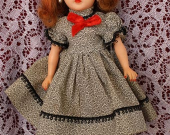 Vintage 1950's fashion doll dress for Little Miss revlon and friends ~ Full sweep, puff sleeves and red velvet bow Looking smart!