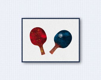 Table Tennis Ping Pong Watercolor Poster