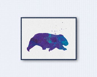 Wombat Watercolor Poster