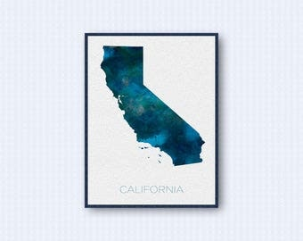 California Map Watercolor Poster, United States Map Print, Blue Version