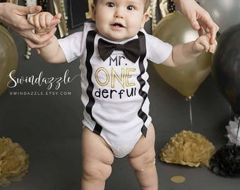 Long sleeve Mr. ONEderful - Mr ONEderful shirt - ONEderful outfit - ONEderful first birthday theme - black and gold ONEderful theme