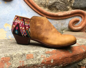 Women's Ankle Boots, SALE Handcrafted in Guatemala, Low Cut Boots, Leather Boots, Women's Leather Shoes, Cowboy Boots, Boho Boots Size US 10