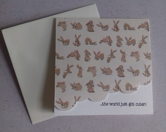 5 x 5 inch square Belle and Boo Print New Baby Card with Ivory Envelope, Blank Inside