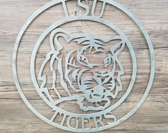LSU Tiger Circle With Logo (Home Decor, Football, Sports, Wall Art, Metal Art)