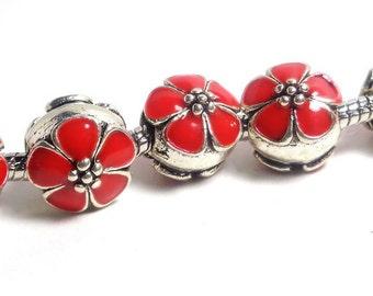 2 red flower charm 11x11mm, perle émail - gros trou 4mm - charme bracelet européen