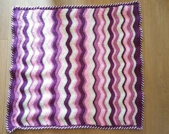Soft Pink ripple Crochet Pram Blanket,Throw, Afghan